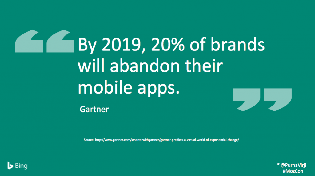 By 2019, 20% of brands will abandon their mobile apps.