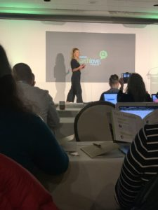 Britney Muller on stage at SearchLove San Diego 2019